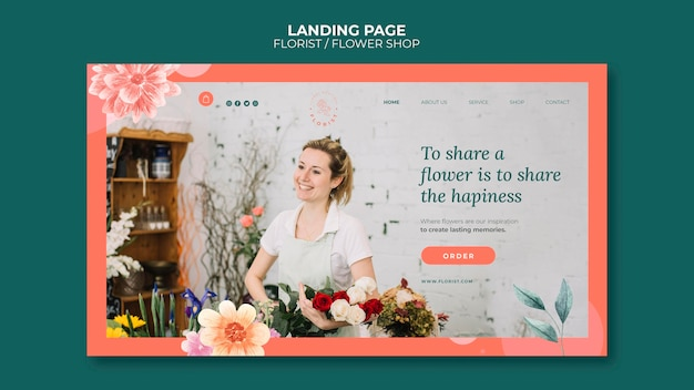 Landingpage-vorlage für blumengeschäft Premium PSD