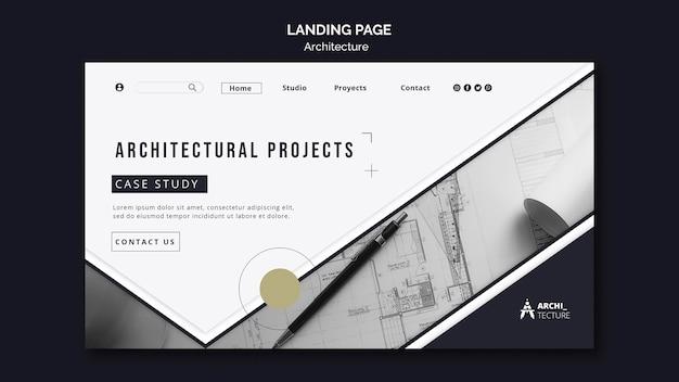 Landingpage-vorlage für das architekturkonzept Kostenlosen PSD