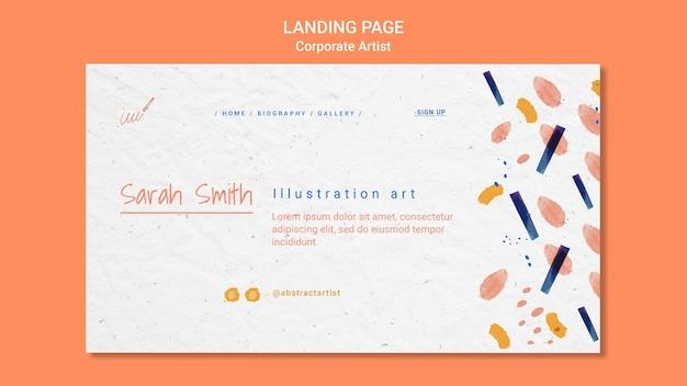Landingpage-vorlage für das konzept des unternehmenskünstlers Kostenlosen PSD