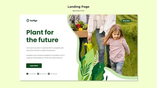 Landingpage-vorlage für das landwirtschaftsfarmkonzept Kostenlosen PSD
