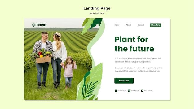 Landingpage-vorlage für das landwirtschaftsfarmkonzept Premium PSD