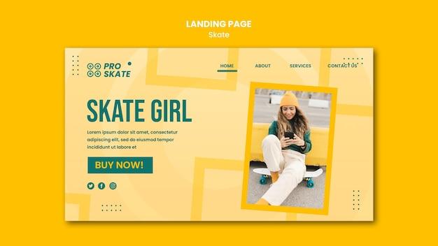 Landingpage-vorlage für das skate-konzept Kostenlosen PSD