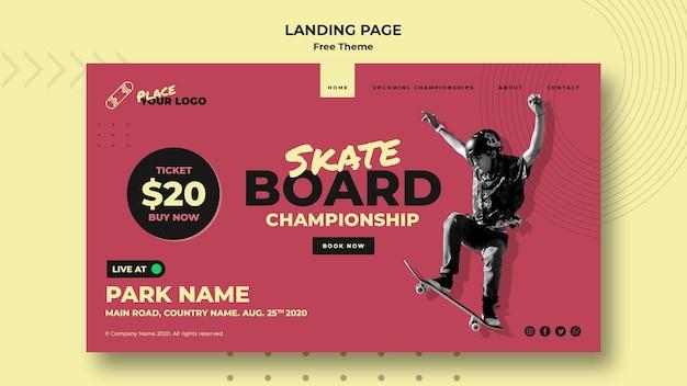 Landingpage-vorlage für das skateboard-konzept Kostenlosen PSD