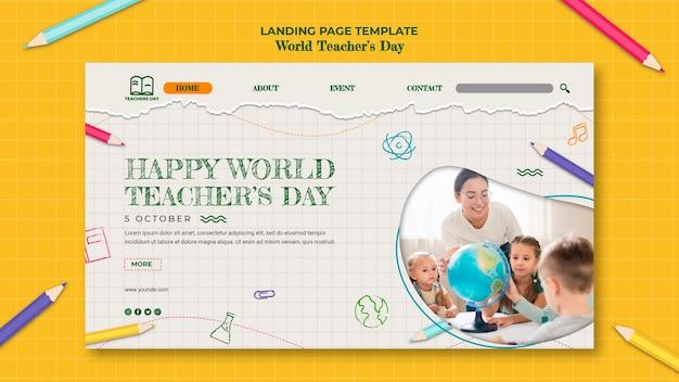 Landingpage-vorlage für den lehrertag Kostenlosen PSD