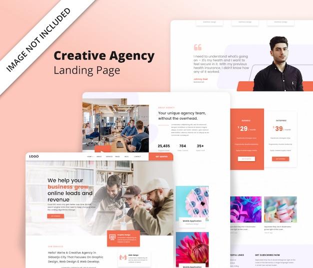 Landingpage-vorlage für eine kreative agentur Premium PSD