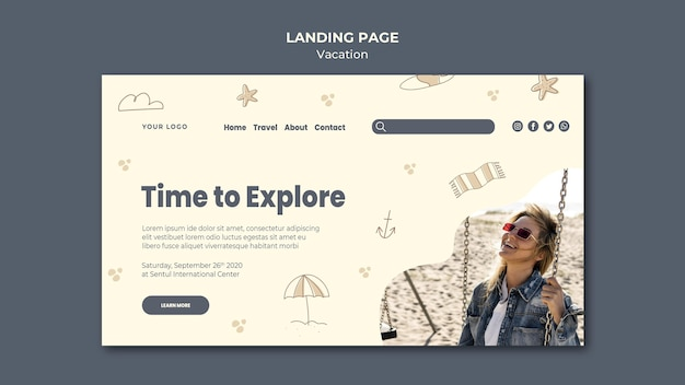 Landingpage-vorlage für ferienanzeigen Kostenlosen PSD