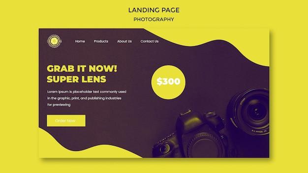 Landingpage-vorlage für fotografie-anzeigen Premium PSD