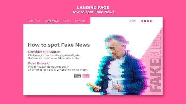 Landingpage-vorlage für gefälschte nachrichten Kostenlosen PSD