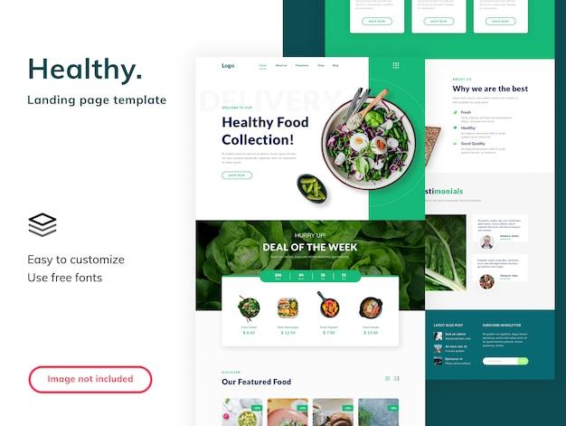Landingpage-vorlage für gesundes essen Premium PSD
