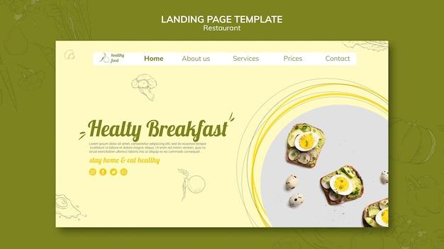 Landingpage-vorlage für gesundes frühstück mit sandwiches Premium PSD