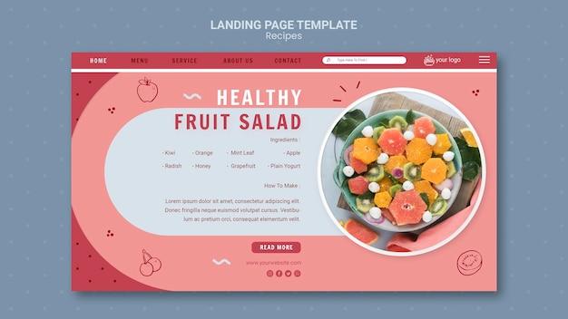 Landingpage-vorlage für gesundes obstsalat Kostenlosen PSD