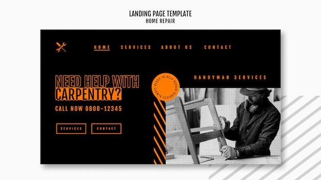 Landingpage-vorlage für hausreparaturunternehmen Kostenlosen PSD
