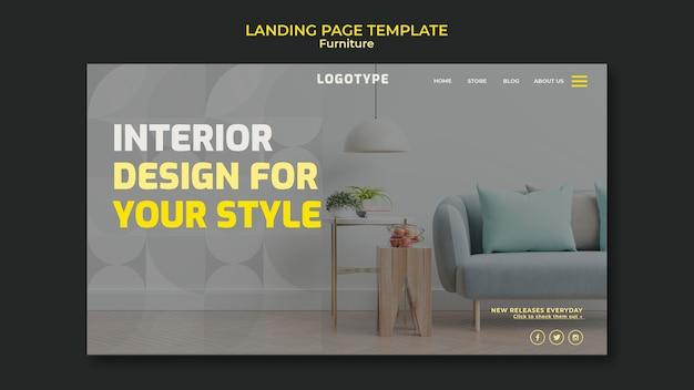 Landingpage-vorlage für innenarchitekturfirma Kostenlosen PSD