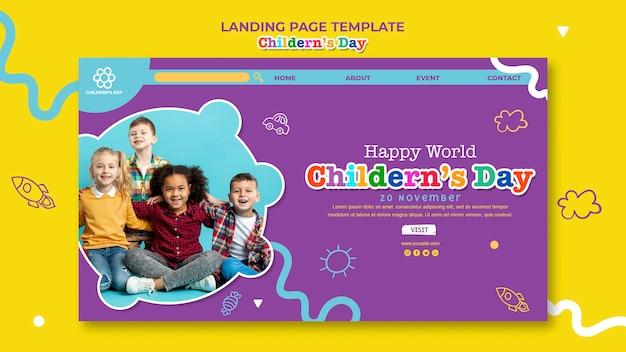 Landingpage-vorlage für kindertag Kostenlosen PSD