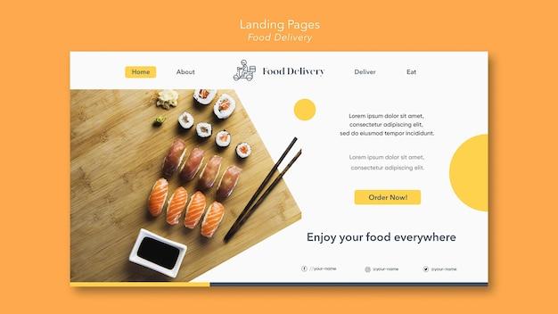 Landingpage-vorlage für lebensmittellieferung Premium PSD