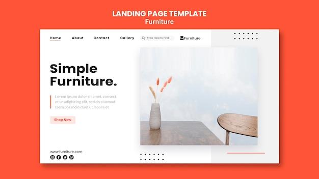 Landingpage-vorlage für minimalistische möbeldesigns Premium PSD