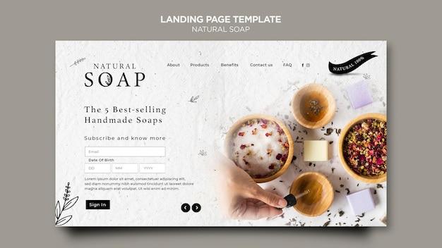 Landingpage-vorlage für naturseifenkonzept Premium PSD