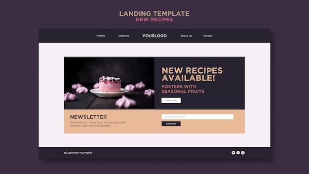 Landingpage-vorlage für süße rezepte Premium PSD