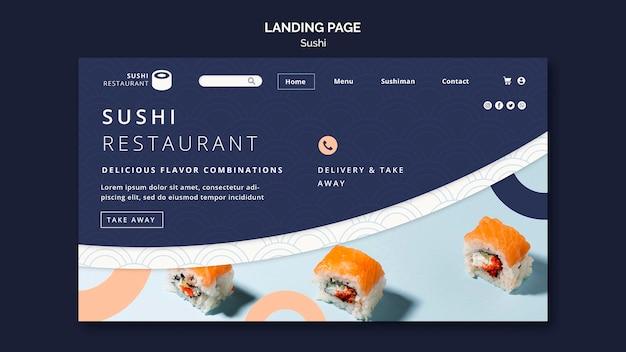 Landingpage-vorlage für sushi-restaurant Premium PSD