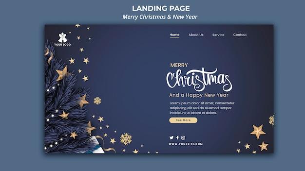 Landingpage-vorlage für weihnachten und neujahr Premium PSD