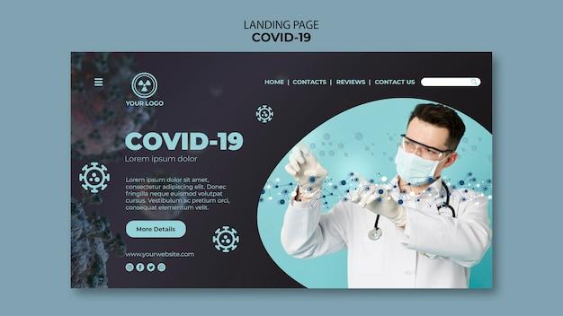 Landingpage-vorlage mit covid 19-thema Kostenlosen PSD