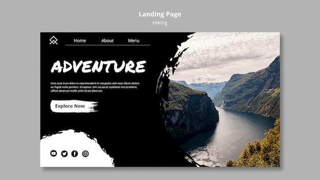 Landingpage-vorlage mit wanderkonzept Kostenlosen PSD