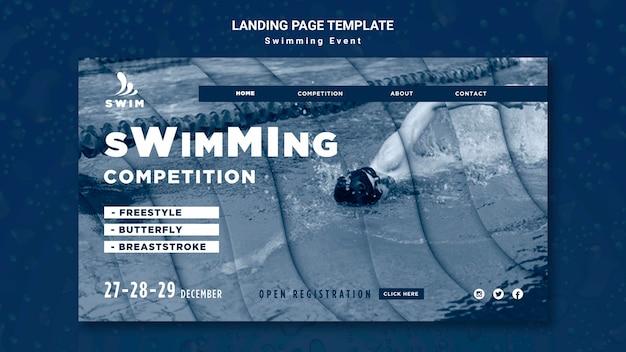 Landingpage-vorlage schwimmen Premium PSD