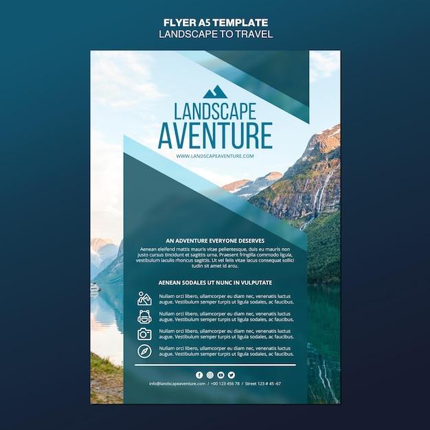Landschaft für reisekonzept flyer vorlage Kostenlosen PSD