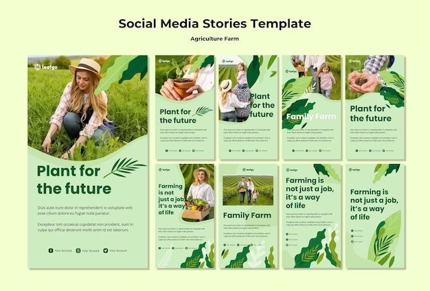 Landwirtschaftliche farm konzept social media geschichten vorlage Kostenlosen PSD