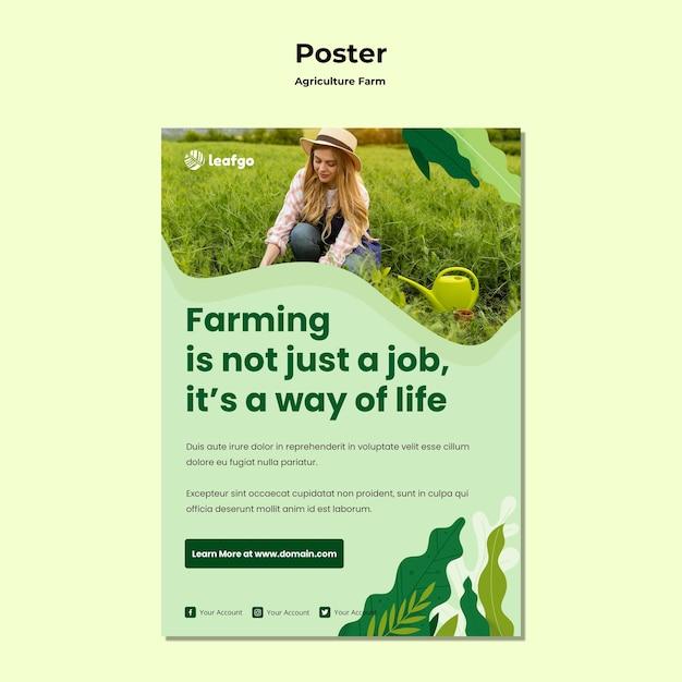 Landwirtschaftsfarmkonzeptplakatschablone Kostenlosen PSD