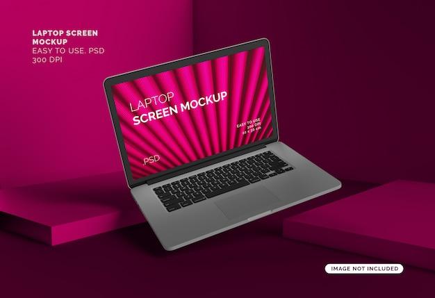 Laptop-bildschirm modell mit abstraktem hintergrund Premium PSD