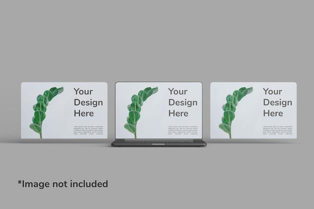 Laptop-bildschirmmodell vorderwinkelansicht Premium PSD