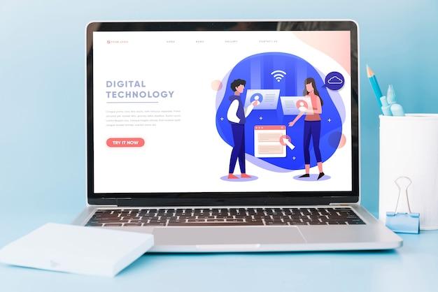 Laptop-modell auf arbeitsplatztisch Kostenlosen PSD