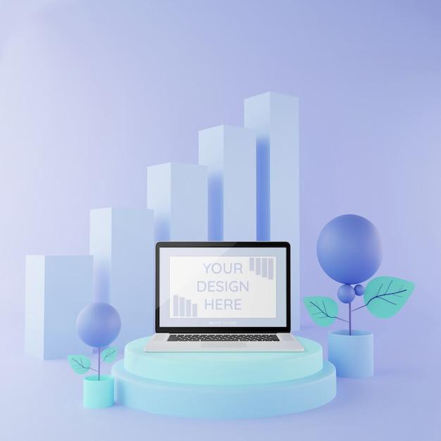 Laptopmodell auf pastellfarbe der illustration des podiums 3d, modell infographic Premium PSD