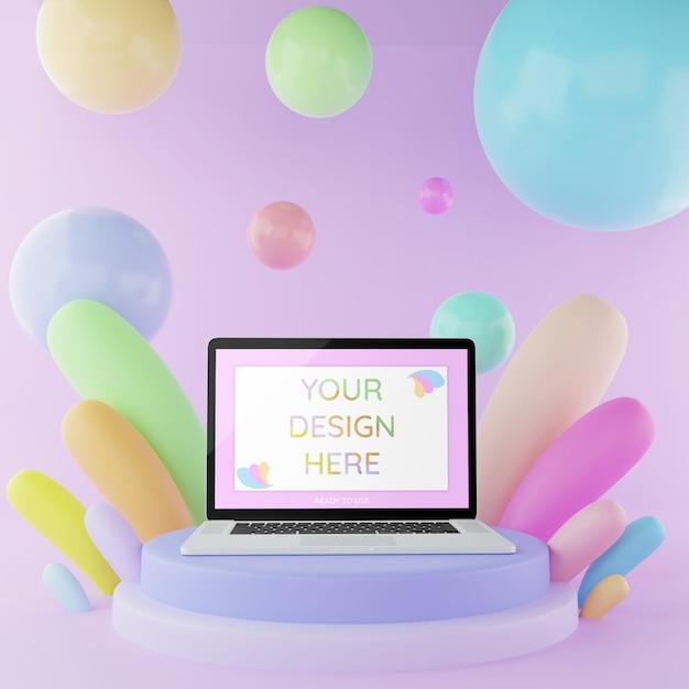 Laptopmodell auf podium mit pastellfarbe der abstrakten illustration der elemente 3d Premium PSD