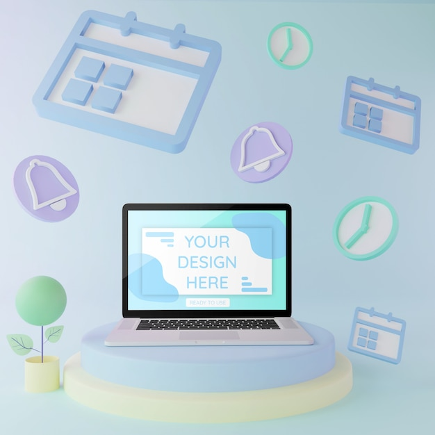 Laptopmodell auf podium mit pastellfarbe der illustration scedule elemente 3d Premium PSD