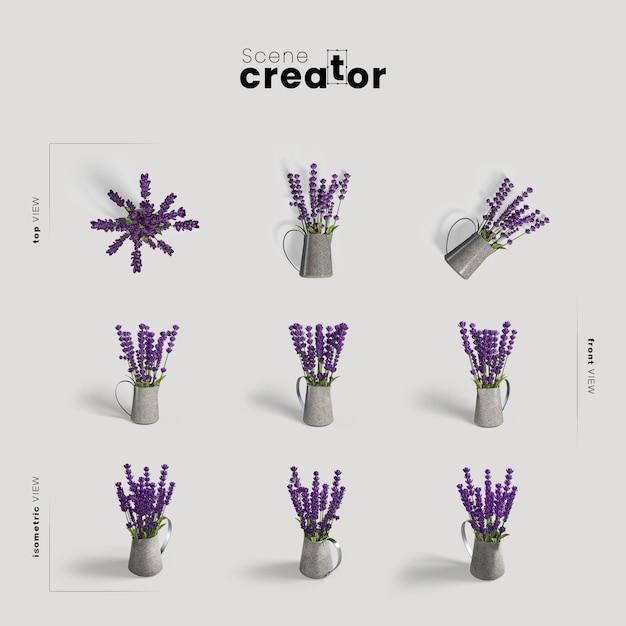 Lavendel in der vasenansicht des frühlingsszenenschöpfers Kostenlosen PSD