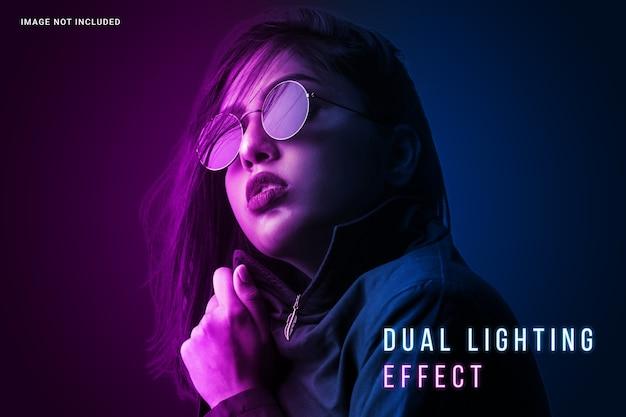 Lebendige foto-effektvorlage mit doppelter beleuchtung Premium PSD