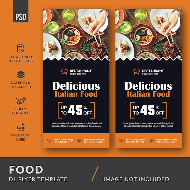 Lebensmittel dl flyer vorlage Premium PSD