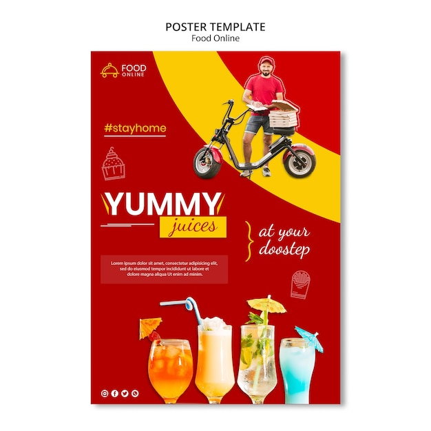 Lebensmittel online-konzept poster modell Kostenlosen PSD