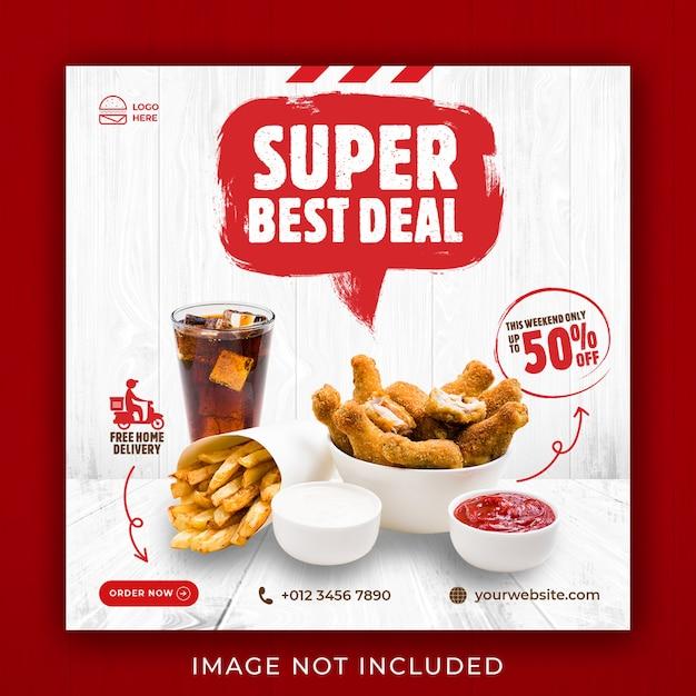 Lebensmittelmenü werbung social media instagram post banner vorlage Premium PSD