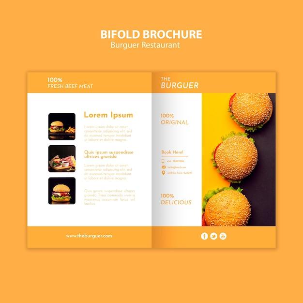 Leckere burger restaurant bifold broschüre Kostenlosen PSD