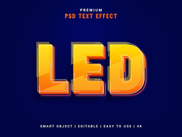 Led typographic text effect maker Premium PSD