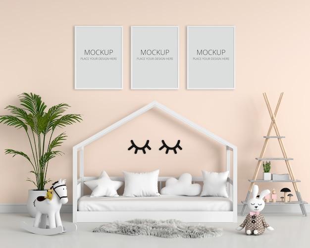 Leerer fotorahmen drei für modell im kinderschlafzimmer Premium PSD