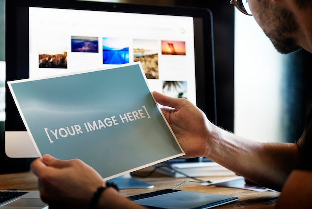 Leeres gedrucktes foto Premium PSD