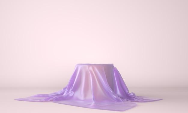 Leeres podium bedeckt mit lila stoff in der 3d illustration Premium PSD