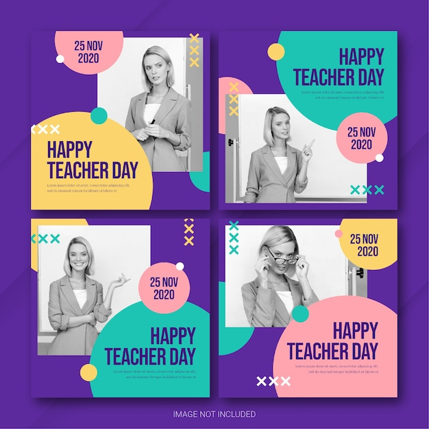 Lehrertag instagram post bundle vorlage Premium PSD