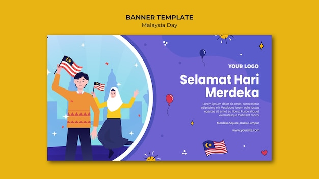 Leute, die malaysische flaggenfahnen-webschablone halten Kostenlosen PSD