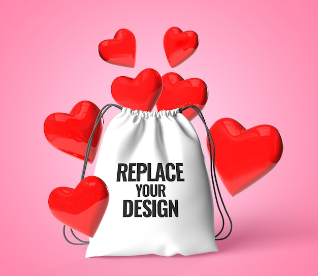 Liebesherztaschen-valentinsgrußmodell, das realistisch überträgt Premium PSD