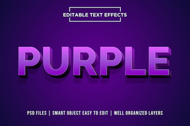 Lila 3d text style effekt premium psd Premium PSD